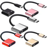 kopfhöreranschluss groihandel-2 in 1 USB Typ C auf 3,5 mm-Konverter USB-C Schnellladeadapter Kopfhörer-Buchse-Adapter-Kopfhörer Ladekabel-Anschluss