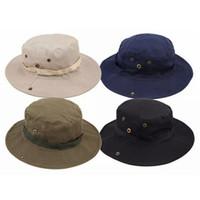 Wholesale plain camp hat for sale - Fashion Men Jungle Fishermans Cap Summer Women Outdoor Sunscreen Bucket Round Cap Leisure Camping Hiking Hat TTA932