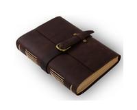 ingrosso fibbia in bianco-Notebook Diario in pelle Ancicraft con fibbia vintage A5 A6 Carta fatta a mano in bianco con scatola regalo
