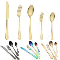 tenedores de cuchillos de oro al por mayor-5 colores de alta calidad cubiertos de cubiertos cubiertos de oro cuchara tenedor cuchillo cucharadita conjunto de vajilla inoxidable conjunto de vajilla cubiertos 10 opciones
