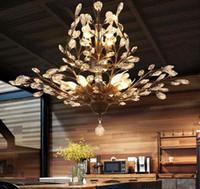 luces colgantes de rama de árbol al por mayor-K9 Araña de cristal Rama de árbol Lámparas colgantes arañas de cristal de época Lámparas de hierro vida moderna Lámpara de techo Iluminación