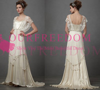 Wholesale silk chiffon sweetheart wedding dress for sale - Group buy Vintage s Catherine Deane Lita Wedding Dresses with Sleeves Modest Fairy Lace Chiffon V neck Full Length Bridal Wedding Gown