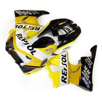siyah sarı motosiklet fuar toptan satış-Honda CBR900 RR marangozluk için 7 vitesler kaporta kiti 98 99 CBR900RR sarı beyaz siyah motosiklet CBR919 1998 1999 JJ78