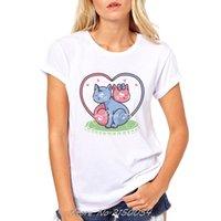 vilains t shirts achat en gros de-Summer Naughty Cat Lovely T Shirt Femmes Impression Originalité O-Cou T-shirt À Manches Courtes Tops Tee