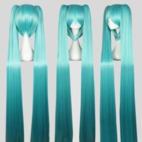 Wholesale vocaloid full cosplay for sale - Group buy For Vocaloid Hatsune Miku Figure Mix Flat Bangs Synthetic Hair Women Long Straight Blue Full Wigs With Bangs Ponytails Anime Cosplay Hair