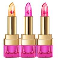 flower jelly lipstick toptan satış-2017 Sıcaklık Değişimi Renk Dudak 3 Renk Su Geçirmez Uzun ömürlü Tatlı Şeffaf Jöle Çiçek Pembe Nemlendirici Ruj