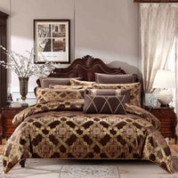 Wholesale royal beds for sale - Gold coffee color cotton stain Bedding set king queen size luxury royal bed duvet cover set bed linen pillow shams