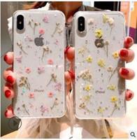 ingrosso iphone casi puro-Custodia in TPU trasparente per fiori veri fiori secchi per iPhone X 6 6S 7 8 plus Custodia per telefono per iPhone XR XS Max Cover Pura e fresca