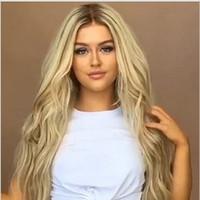ombre pelucas flequillo al por mayor-Damas rizado rizado pelucas Platinum Blonde larga recta de gradación teñido Medio Bangs Moda pelucas sintéticas de alta suelta la onda de Headwear