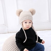 Wholesale spring crochet hats for children for sale - Group buy Knitted Winter Baby Hat with Ears Cartoon Lace up Children Kids Baby Bonnet Cap for kids Colors AALE434