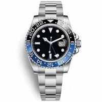 verstellbare lünette großhandel-1 Batman Watch Men 40mm Selbstwind Mechanische Automatische Schwarz Blau Uhren Keramik Lünette Herren Glide Lock Strap Armbanduhren Verstellbarer Verschluss