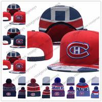 ingrosso beanie rossa blu-Hockey su ghiaccio Montreal Canadiens in maglia Berretti ricamo regolabile Il cappello ricamato Snapback Caps bianco rosso blu cucita Cappelli Unica