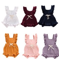 Wholesale infant linens resale online - Newborn Baby Girls Rompers Infant Baby Girl Summer Ruffled Solid Color Sleeveless Romper Girls Candy Color Bow Square Collar Romper