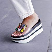 Wholesale flat platform animal for sale - Group buy 2019 Summer Hot Selling New Wedge Slippers EVA Platform Slides Embellished PVC Transparent Clear Beach Shoes Women