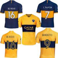 maillot bleu boca juniors achat en gros de-2019 Boca Juniors DE ROSSI domicile bleu à l'extérieur jaune Hommes TEVEZ CARLITOS Benedetto PAVON chaussures de football maillots de football 19 20