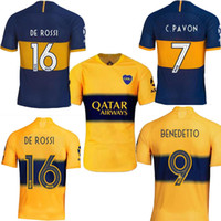 sarı mavi forması toptan satış-2019 Boca Juniors DE ROSSI home blue away sarı Erkek TEVEZ CARLITOS Benedetto PAVON camisa de futebol futbol formaları futbol formaları 19 20