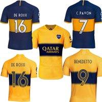 camiseta azul de boca juniors al por mayor-2019 Boca Juniors DE ROSSI local azul visitante amarillo Hombres TEVEZ CARLITOS Benedetto PAVON camisa de futebol camisetas de fútbol camisetas de fútbol 19 20
