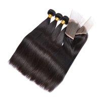 несравненные волосы оптовых-Класс 8А Девственные волосы прямые волосы бразильские прямые с закрытием необработанные пучки человеческих волос с закрытием