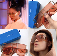 Wholesale large decorative frames for sale - Group buy New fashion avant garde sunglasses FENTY special design large frame protection square goggle top quality light color decorative eyewear