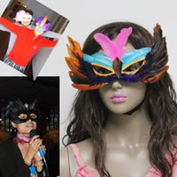 Wholesale chicken masks for sale - Group buy Newest DIY Party feather mask sexy women lady Halloween carnival colorful chicken feather Venice Party masks