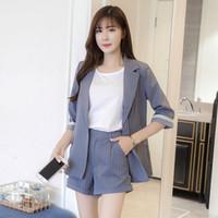 koreanische damen passt großhandel-Sommer Streifen Anzug Anzug Damen Büro Uniform koreanischen Frauen schlanke kleine hohe Taille Shorts Büro Uniform zweiteiligen Satz