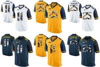 jerseys de futebol frete grátis venda por atacado-Factory Outlet - Frete grátis! NCAA West Virginia montanhistas Justin Crawford 25 Chugunov 11 College Football jersey (número do nome costurado)