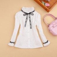 schulhemd weiße bluse großhandel-2017 Frühlings-Mädchen-Bluse Kinder Kleidung für Kinder Langarm-Shirt Cotton-Kind-Hemd School Girl Weiße Bluse Mädchen Clothes2-16Y