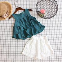 Wholesale lotus doll online - 2019 Baby Girls Doll Shirt Suits Suit Summer Kids Korean Multilayer Lotus Edge Vest Tops Tees White Short Pant Outfits Clothing Sets
