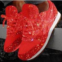 zapatos de lentejuelas para niñas al por mayor-Zapatos de cuero de lujo Lentejuelas ocasionales de las mujeres respirables de las zapatillas de deporte de la plataforma del zapato con cordones Low Zapatillas chica cool tamaño de los zapatos 35-43