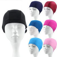 Wholesale pool swimming adult for sale - Group buy Adult Bathing Cap Solid Color Swimming Hat Cloth Multiple Styles Elastic Force Portable Swim Pool Supply yf C1