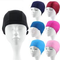 yetişkinler için havuz toptan satış-Yetişkin Yüzme Kap Düz Renk Yüzme Şapka Bez Çoklu Stilleri Elastik Kuvvet Taşınabilir Yüzmek Havuz Kaynağı 0 95yf C1