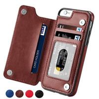 étui iphone carte de visite achat en gros de-Étui portefeuille en cuir magnétique de haute qualité pour hommes d'affaires femmes carte pour iPhone X iphone6 / 7/8 couvre