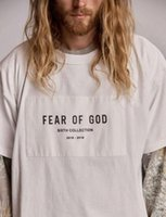 ingrosso patch sciolto-FOG White Patch Mens Tshirts Designer Loose Round Neck Moda Fear of God Tees Manica corta maschile Top