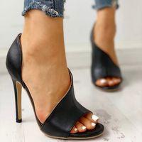 aberto, toed, alto, calcanhares venda por atacado-Novo recorte Designer Sandálias De Couro Da Moda Super Alta Sandálias De Salto Alto Mulheres Sexy Moda de Luxo Verão Sapatos Abertos Toe