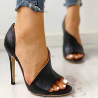 açık sandal topuk ayakkabıları toptan satış-Yeni Cut Out Tasarımcı Sandalet Moda Deri Süper Yüksek Topuklu Sandalet Seksi Kadın Moda Lüks Yaz Burnu açık Ayakkabı