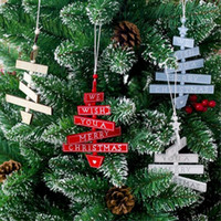Wholesale wish paintings resale online - eTya Creative Beaded wood pendants We Wish A Marry Christmas painted Ornament Wooden Hanging Xmas tree Decoration for Home