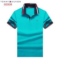 fertigen sie t-shirt besonders an großhandel-Kundenspezifische Sommer reine Baumwolle Kurzarm Revers T-shirt reine Farbe Mann Kleidung Freizeit POLO T-Shirt