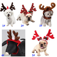 Wholesale dog costume hats resale online - Pet Christmas Headdress For Dog Cat Headband Xmas Hat Puppy Costume Accessories For Reindeer Decoration DHL SHip HH9