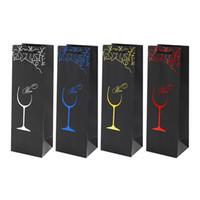 flasche geschenk papiertüte großhandel-Craft Paper Weinflasche Geschenkbeutel Schwarz Farbic Geschenkbeutel Großhandel 750ml 2 Flaschen Wein Papiertüte