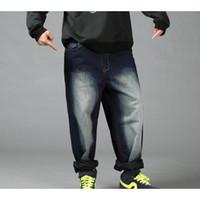 хип-хоп мешковатые штаны мальчики оптовых-Новые хип-хоп мешковатые джинсы мужские джинсовые хип-хоп свободные брюки рэп джинсы для мальчика рэпер мода плюс размер 30-46