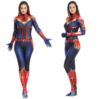 Wholesale catsuit role play for sale - Group buy Captain of the hero role play tight suit family entertainment holiday stage performance costumes Image is clear
