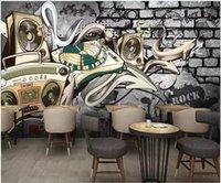 ingrosso arredamento nostalgico di casa-Carta da parati 3d foto personalizzata Retro europeo nostalgico hip-hop street graffiti bar KTV room home decor 3d murales wallpaper per pareti 3 d