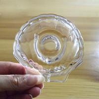 klare glasschalen großhandel-Transparente Glasseifenschale Clear Shell Form Lagerung Seifenhalter Platte Tablett Badzubehör Großhandel ZC0779