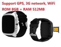 ingrosso orologi da polso usati-WiFi Smart Watch supporta il download APP direttamente tramite Internet utilizzando 1.3GHz 8G + 512MB Smartwatch 3G Orologio da polso w / SIM Card Camera GPS Watch