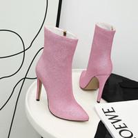 iç çizme toptan satış-Toptan Ayakkabı Kadın Çizmeler Parlak Yüksek Topuk Kadın Çizmeler Sonbahar Kış Çizmeler Sivri Burun Ayakkabı İç Zip Bayanlar Patik