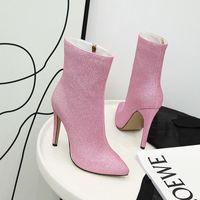 botas de tornozelo de diamante negro venda por atacado-Sapatos por atacado Botas de Mulher Brilhante de Salto Alto Mulheres Botas Outono Botas de Inverno Apontou Toe Sapatos Zip Interior Senhoras Botas