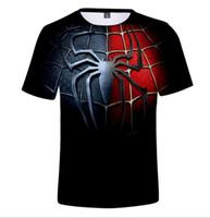 camisetas de algodón superhéroe al por mayor-Spiderman Fashion Superhero Men's Hip Hop Designer T-shirt Estampado en 3D Algodón Casual Manga corta para hombres Street Tops