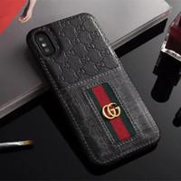 étui de luxe iphone cuir achat en gros de-Cas de téléphone de luxe pour Samsung S8 S9 S9plus S10 S10plus Note8 en cuir Bee Snake Motif Designer Designer cas de téléphone pour iPhone X Xs Max 8