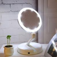 büyüteç gözlük ışıkları toptan satış-Taşınabilir LED Işıklı Makyaj Aynası Vanity Kompakt Makyaj Cep aynalar Vanity Kozmetik Ayna 10X Büyüteç Gözlük VT0005