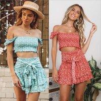meilleures ventes robes achat en gros de-vendeur chaud de mode floral américain un mot épaule haut et jupe costume été sexy élégant deux pièces robe ensemble